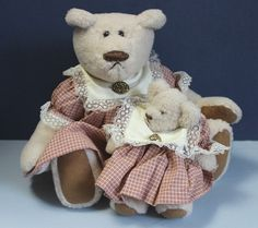 Mommy & Me a 15 inch Momma bear and her 7 inch baby by SNSDOLLS