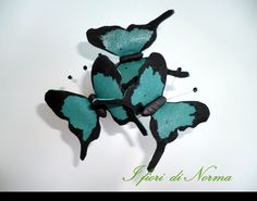 Leather butterfly with swarovzki- bridal butterfly-  Turquoise butterfly hair pin. by iFioriDiNorma on Etsy