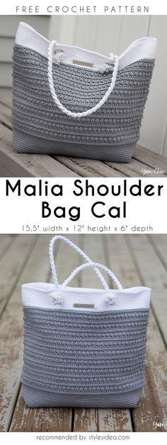 Malia Shoulder Crochet Bag Cal Free Pattern #freecrochetPatterns #freecrochetPatternsforbag #crochetbag #crochettote #crochetstitch #crochet #crochetfreepatternsforlady