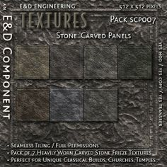 [SCP007] 7 Ancient / Classical Carved Stone Frieze Textures from E&D ENGINEERING