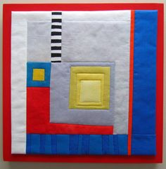 """Melody Johnson: Essentials #2. Hand dyed and commercial cotton, fused, machine quilted and mounted on painted wood panel. 12"""" square."""