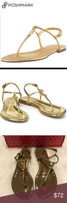 """Tory Burch Emmy Metallic Thong Sandal in Gold Tory Burch Emmy Metallic Thong Sandal in Gold! Beautiful inside and out. Tory Burch puts her signature spin on a signature staple, updating this flat thong sandal with lustrous metallic leather & a logo medallion. Thin thong strap features small double-""""T"""" medallion. Petite buckle slingback. Finished with padded insole & logo-treaded rubber sole. 1/4"""" stacked flat heel and rubber sole. Size 8.5. Wear on toes & heels & straps have some wear…"""