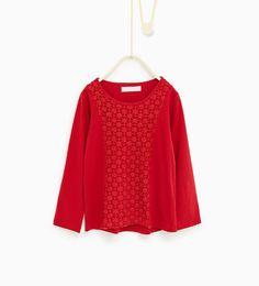 Image 1 de T-shirt en guipure de Zara