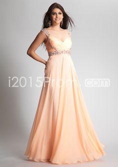 2014 Style A-line Straps Beading Sleeveless Floor-length Chiffon Prom Dresses / Evening Dresses