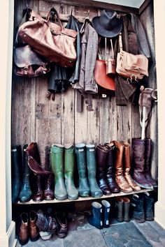 Since we never close the doors on our hall closet anyway, it makes sense to line it with reclaimed wood and make it open. Unfortunately, our footwear is not so consistently rustic... From the home of Stewart and Jane Devlin in New York State, from Milk Magazine