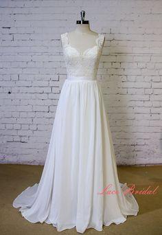Exquisite Lace Wedding Dress V Shape Lace Neckline by LaceBridal