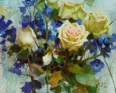 Daniel Keys, Roses & Delphiniums, Oil, x Daniel Keys, Daniel J, Oil Painting Flowers, Garden Painting, Rose Paintings, Still Life Flowers, Keys Art, Still Life Art, Watercolor Illustration