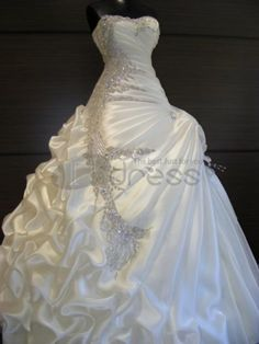 A-Line 2 in 1 Satin Strapless Wedding Dress with Convertible Layered Skirt