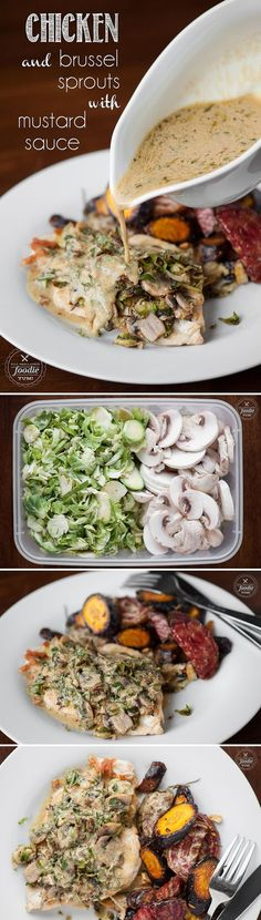 Chicken and Brussel Sprouts with Mustard Sauce - A healthy and low carb meal option that tastes amazing and is easy to prepare for your next family dinner.