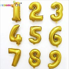 1PCS Direct Selling Top Fashion Juguetes Ballon 16inch 0-9 Number Helium Foil Balloons For Party Decorations Mylar Globas