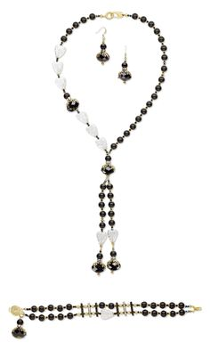 Jewelry Design - Single-Strand Necklace, Bracelet and Earring Set with Swarovski Crystal, Black Onyx Gemstone Beads and Czech Crackle Glass Beads - Fire Mountain Gems and Beads