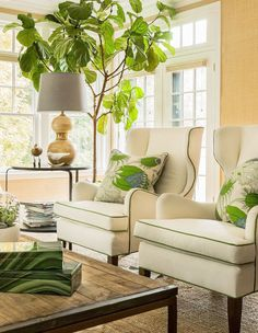 Living Room featuring Christopher Farr Carnival Pillows in Green (Hudson Interior Designs)