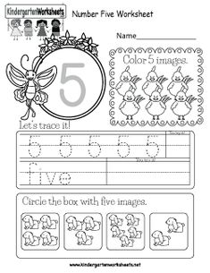 This is a number 5 worksheet. Kids can trace the number and color the correct number of images. Number Worksheets Kindergarten, Teaching Numbers, Numbers Preschool, Preschool Math, Worksheets For Kids, Preschool Ideas, Maths, Free Printable Numbers, Numbers For Kids