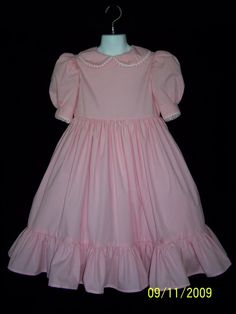 Girls Pink Gingham Classic Dress. by CuffsandRuffles on Etsy