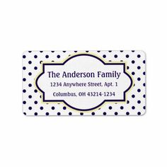 White Yellow & Blue Polka Dot Return Address Label