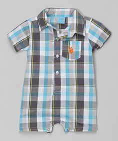 Look what I found on #zulily! Blue Plaid Collar Romper - Infant by U.S. Polo Assn. #zulilyfinds