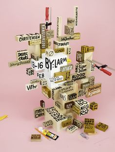 It's an art piece, it's graphic design, it's a sculpture AND a poster, which keeps evolving! Wonderfully created by Norwegian designers Frode Skaren and Rune Mortensen for Oslo festival by:Larm.