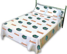Florida Printed Sheet Set Queen - White - FLOSSQUW by College Covers