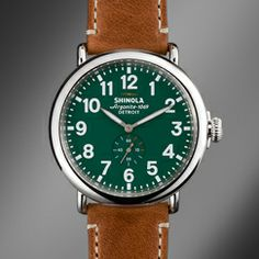 I am a fan of traditional looking watches, but the use of green on the face I think is brilliant!  It looks traditional, but it's not.   Shinola Watches | Shinola®