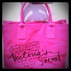 """Brand new Victoria's Secret PINK hot pink tote! Great addition to your spring/summer wardrobe of bright accessories! Bag's lettering is bluish black with silver glitter. Perfect for work, school, shopping, gym or beach! Great gift for Victoria's Secret PINK fan or collector! Bag lived in smoke free, pet free home. Tote is 13"""" high x 16"""" wide x 4.5"""" deep. Handle has 6"""" drop. Thanks for looking! http://poshmark.com/listing/4fa145f8b2bb1b327302b8df"""