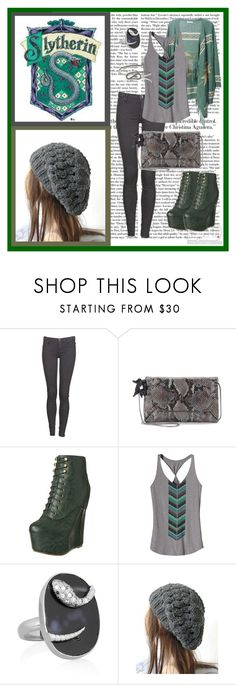 """""""A Slytherin's Trip to Hogsmeade"""" by coffeebooksetcetera ❤ liked on Polyvore featuring Dr. Denim, Lanvin, Jeffrey Campbell, Patagonia, Isharya, River Island, loose tank tops, snakes, harry potter and cardigan"""