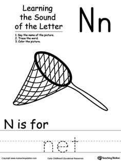 **FREE** Learning Beginning Letter Sound: N Worksheet. Learn the sound of the letter N by saying the name of the picture and then tracing the word. This printable worksheet is perfect for children to associate the alphabet letters with sounds.