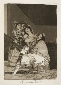 """Francisco de Goya: """"Le descañona"""". Serie """"Los caprichos"""" [35]. Etching and aquatint on paper, 215 x 152 mm, 1797-99. Museo Nacional del Prado, Madrid, Spain"""