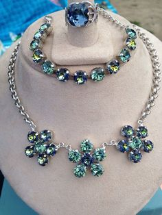 A personal favorite from my Etsy shop https://www.etsy.com/listing/242348647/swarovski-elements-three-piece-blue