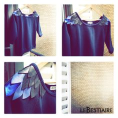 "Volatiles ""Shoulders"" navy sweat via lebestiaire. Click on the image to see more!"