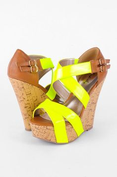 Want! Need!!!! Cork wedges with citron straps...