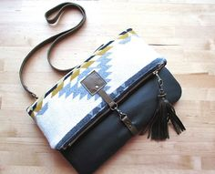 Southwestern Wool and leather bag Large Leather foldover