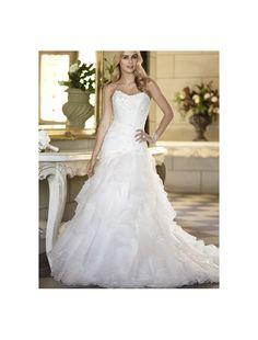 Organza Strapless Neckline Mermaid Wedding Dress with Layered Skirt - Bridal Gowns - RainingBlossoms