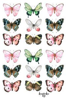 Butterfly Drawing, Butterfly Painting, Butterfly Wallpaper, Journal Stickers, Planner Stickers, Printable Stickers, Cute Stickers, Aesthetic Stickers, Beautiful Butterflies