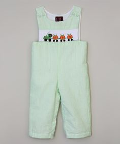This Green Stripe Tractor Smocked Overalls - Infant & Toddler is perfect! #zulilyfinds