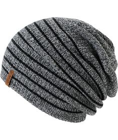 0111273a4b6 Empyre Juliet Black   Charcoal Stripe Beanie