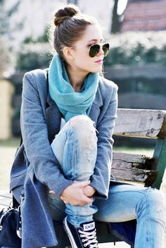 Pea-coat, scarf, skinny jeans, converse, top knot
