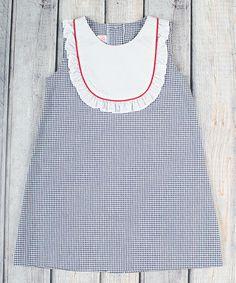 Loving this Navy Seersucker Jordan Bib Dress - Infant, Toddler & Girls on #zulily! #zulilyfinds
