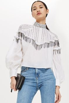 Sequin Smock Blouse