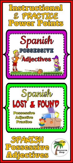 Spanish possessive adjectives simplified with pictures.  Instructional and practice PowerPoints.