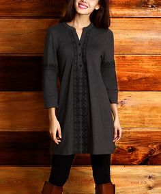 Look what I found on #zulily! Charcoal Embroidered Mosaic Notch Neck Tunic #zulilyfinds
