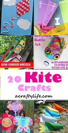 Make fun kite crafts - kite crafts for kids- spring kid crafts- kid crafts - acraftylife.com #preschool Kites For Kids, Summer Crafts For Kids, Easy Crafts, Arts And Crafts, Kid Crafts, Spring Activities, Activities For Kids, Kites Craft, All Kids