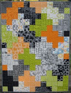 """a maiden hair fernquilt stats: 34 x 45 (washed) 22 fabrics - Reel Time by Zen Chic cut (8) 3 1/2 """" sqs. of 22 fabrics (plus a few extra)"""