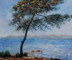 Cap d' Antibes Waterside Scenes Painting Reproduction on Canvas