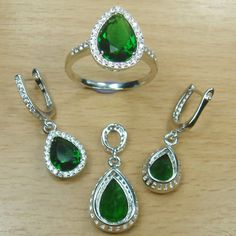 Pear Cut Emerald Green White CZ 925 Sterling Silver Full Jewelry Set