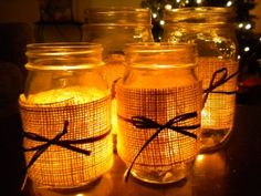 @Julia Neal Some more Mason jar love for you. I made these for our Thanksgiving table setting, super easy and very rustic.