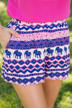 Never Forget Shorts, Navy-Fuchsia - The Mint Julep Boutique