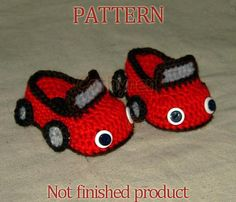 PDF Pattern 41 - Crocheted Baby Boy convertible sports Car shoes, booties, slippers, house shoes. $3.99, via Etsy.