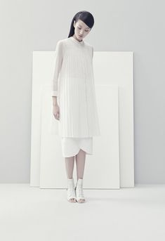 This is an example of minimalist clothing. This style includes very plain colors and no patterns.