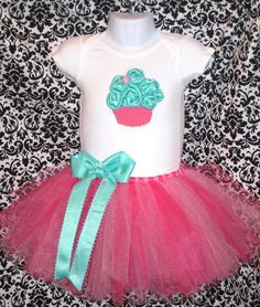 Baby's First Birthday 3D Cupcake Onesie with Tutu and by Zobows, $39.00