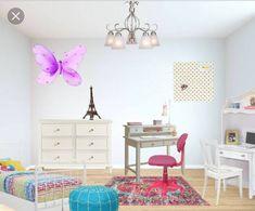 Monica's Design for Lauren's Kids Room Childrens Desk, 3d Wall Decor, Student Desks, 6 Drawer Dresser, Decorating Games, Chandelier Shades, Desk Chair, Platform Bed, Kids Room